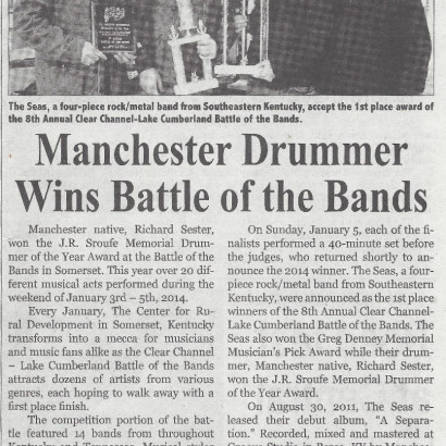 The Seas - Manchester Enterprise - Battle of the Bands Article - Jan 2014